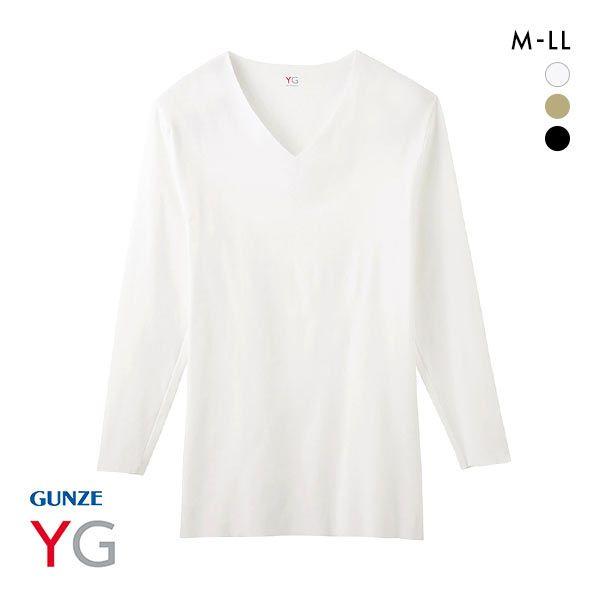 20%OFF【メール便(20)】 (グンゼ)GUNZE (ワイジー)YG HOT-ON COTTON ホットオンコットン 9分袖 シャツ インナー 長袖 カットオフ Vネック YV7109