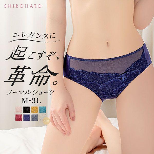 13%OFF【メール便(4)】 (モードマリー)Mode Marie×SHIROHATO 超脇肉革命 スタンダード ショーツ M L LL 3L レース 単品 大きいサイズ
